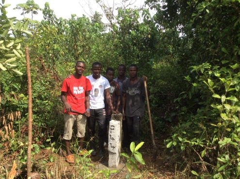 Corner markers for land in Liberia